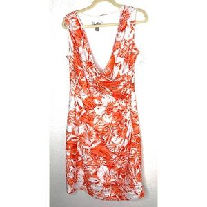 Orange & White Floral Joseph Ribkoff Size 14 Dress